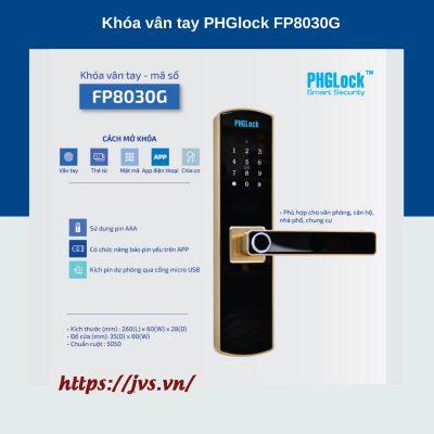 Khóa cửa vân tay cho văn phòng, căn hộ PHGLOCK FP8030 Gold
